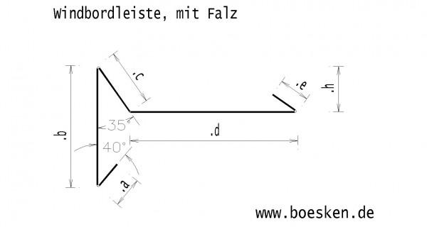 Titanzink-Windbordleiste, mit Falz, RZ vorbewittert blaugrau, L: 3m
