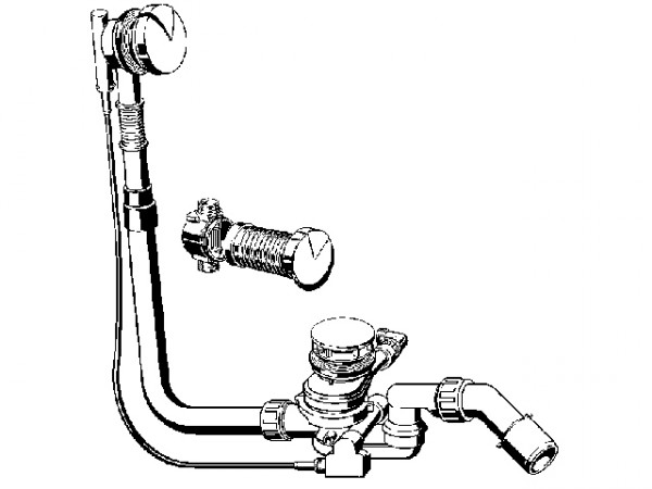 Viega Multiplex-Trio F, Ab- und Überlaufgarnitur 6145.4, 672027, 540mm, Abgang 40/50mm, verchromt