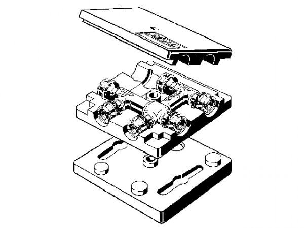 Viega Raxofix Kreuzungs-T-Stück, Mod. 5349, aus Rotguss