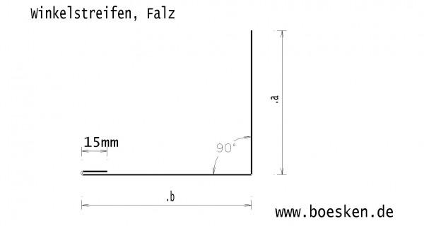 Kupfer-Winkelstreifen, Falz, L: 2m