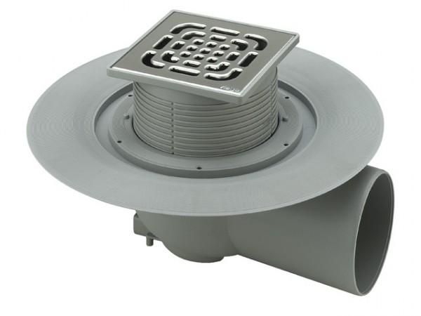 Viega Bodenablauf 150x150mm, Mod. 4955.1, Ablauf waagerecht