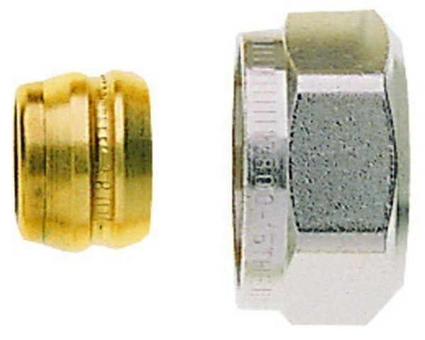 Heimeier Klemmverschraubung vernickelt, für Cu- u. Stahlrohr 16 mm und G 3/4 AG