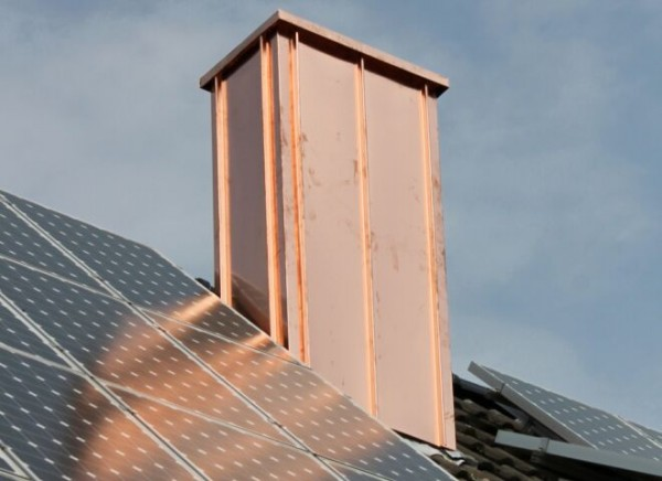 Kupfer-Kaminkopfbekleidung, individuell angefertigt, H: 100/60 cm, Breite: 60/60/60/60 cm, Var. B3,