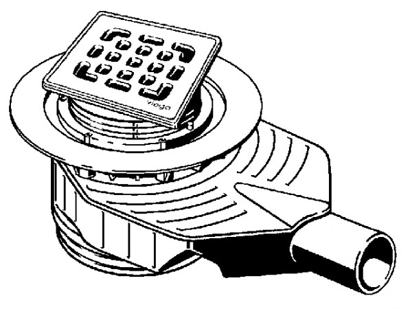 Viega Badablauf Advantix Top, Mod. 4914.10, Aufsatz 100x100mm