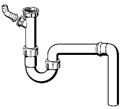 Viega Röhrengeruchverschluss 90°, Mod. 7985.70, m. Schlauchanschluss