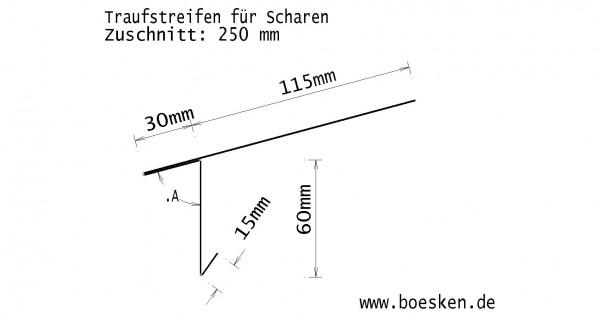 Kupfer-Traufstreifen, f. Scharen, walzblank, 250 mm, S: 0.70mm, L: 2m