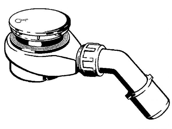 Viega Tempoplex Ablaufgarnitur 60mm, 6963, 634100 Abg 45°, f. 90mm Ablaufloch, verchromt