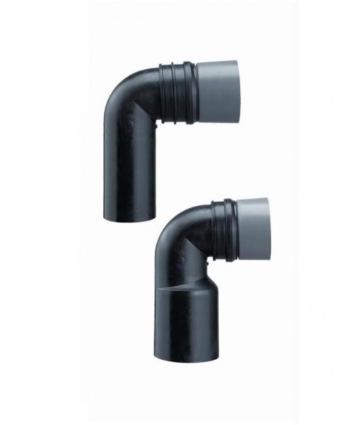 wand wc anschlussbogen dn 90 110 pe schwarz mit bauschutz haas ablaufgarnituren sanitaer. Black Bedroom Furniture Sets. Home Design Ideas