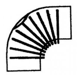 FAL-Bogen 80 mm, 90°, gerippt, m. Tür